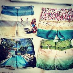 Orlebar Brown - Photographic print shorts - founded 2007 by Adam brown - beachwear Summer Shorts, Swim Shorts, Bermudas Shorts, Billabong, Print Shorts, Beachwear, Swimwear, Man Swimming, Outfit