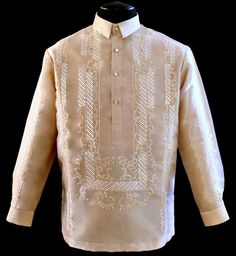 Raya Mocha Barong Tagalog - Barongs R us Barong Wedding, Barong Tagalog, Filipiniana Dress, Line Shopping, Groom And Groomsmen, Mocha, Mens Fashion, Embroidery, Suits