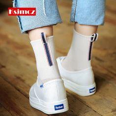 1 짝 KSJMCZ 복고풍 양말 뒤에 라벨 자수 양말 대학 바람 귀여운 양말 #Socks&Hosiery