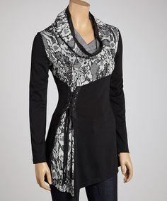 Look what I found on #zulily! Black & White Jungle Cowl Neck Tunic - Women #zulilyfinds