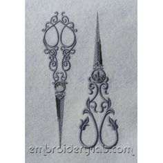 Vintage Embroidery Patterns | Vintage Scissors SET - machine embroidery design - Embroidery Lab
