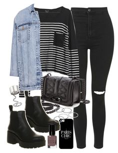 """Outfit with black jeans and Vagabond boots"" by ferned on Polyvore featuring Topshop, Madewell, Pull&Bear, Rebecca Minkoff, Casetify, Vagabond, Elizabeth and James, Apt. 9 and Bobbi Brown Cosmetics"