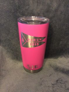 Calcutta  20 oz. mug coated with Duracoat Pink Lady with custom logo.