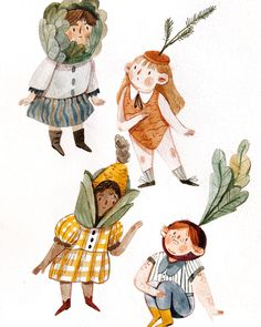 Veggie kiddos to start out the week! 🥕🌽🥬 (happy belated August, everyone 🤗) Texture Illustration, Cute Illustration, Character Illustration, Watercolor Illustration Children, Poster Drawing, Poster S, Character Design Inspiration, Illustrations And Posters, Cute Art