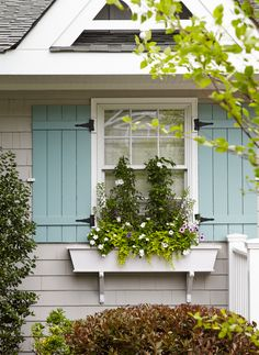House of Turquoise: Jules Duffy Designs Love these shutters.style and color (don't like the plants in window box) Design Exterior, Exterior Paint Colors, Exterior House Colors, Paint Colors For Home, Paint Colours, Grey Exterior, House Of Turquoise, Light Turquoise, Turquoise Color