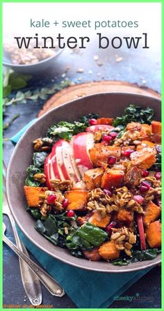 Roasted Sweet Potatoes, Kale, Sunflower Seed Brickle and a lemon-tahini dressing come together in this deliciously warm Winter Bliss Bowl. Or is it a Buddha Bowl?— Cheeky Kitchen tell.— Cheeky Kitchen Source by thebrookelark Kale Recipes, Whole Food Recipes, Vegetarian Recipes, Cooking Recipes, Healthy Recipes, Vegetarian Dinners, Family Recipes, Recipes Dinner, Clean Eating