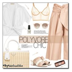 """""""White and Beige"""" by aidasusisilva ❤ liked on Polyvore featuring Michael Kors, MSGM, Hourglass Cosmetics, Prada, OPI, GlassesUSA, CENA and Opening Ceremony"""