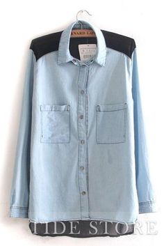 Light Blue Denim and Black Color Blocking Long Sleeve Blouse Casual Tops For Women, Trendy Clothes For Women, Blouses For Women, Ladies Tops, Mens Tops, Jean Shirts, Denim Shirt, Light Blue Blouse, Denim Patchwork