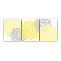 Home Decor Wall Art, Yellow and Gray Flower Burst Art, Bathroom Wall... (1.765…