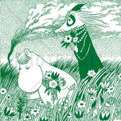 Moomin - Meadow Green - Tapetit / tapetti - Photowall