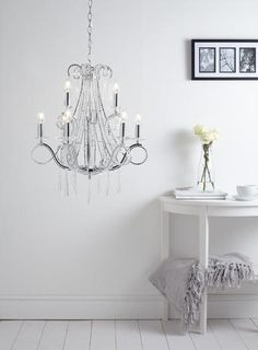 Bathroom Chandeliers Bhs chrome vionnet chandelier light flush mount crystal chain grey
