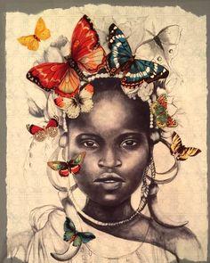 fille africaine avec des papillons par claudiatremblay sur Etsy