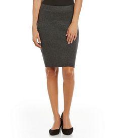 NWT Eileen Fisher Sleek Tencel Merino Interlock Pencil Skirt Charcoal Large #EileenFisher #StraightPencil