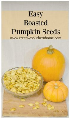 These easy roasted pumpkin seeds help you make some great family memories. Thanksgiving Baking, Thanksgiving Recipes, Fall Recipes, Real Food Recipes, Holiday Recipes, Snack Recipes, Holiday Baking, Easy Snacks, Yummy Snacks