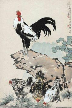 Xu Bei Hong 徐悲鴻 (1895-1953) Japanese Ink Painting, Japan Painting, Chinese Painting, Japanese Art, Chicken Painting, Chicken Art, Chinese Artwork, Rooster Art, Wow Art