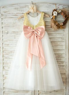 [US$ 69.99] A-Line/Princess Floor-length Flower Girl Dress - Tulle/Sequined Sleeveless Scoop Neck With Bow(s)/V Back