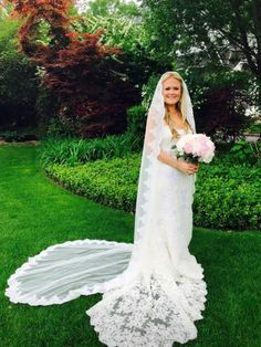 Cathedral Length Lace Wedding Veil Gathered at Top | VG1050, http://www.ieiebridal.com/collections/bridal-wedding-veils