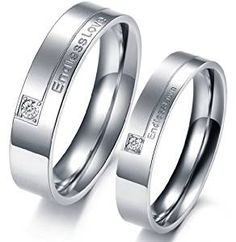 """""""Endless Love"""" Mens Ladies Wedding Band Stainless Steel Couples Promise Ring With Cz: Amazon.co.uk: Jewellery"""
