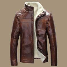 Otoño-Nuevo invierno cálido Hombres chaqueta de cuero genuino Hombres Retro Brown piel de oveja de pieles hombre de lana Liner Shearling chaquetas y abrigos