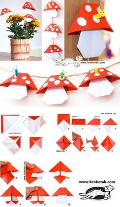 ORIGAMI mushrooms think playing fairy tale village, game school # fairy tale village . - ORIGAMI mushrooms think play fairy tale village, # Fairy tale village # - Origami Design, Diy Origami, Paper Crafts Origami, Origami Stars, Origami Flowers, Origami Tutorial, Paper Crafting, Origami Leaves, Simple Origami