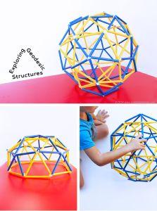Costruzioni geodetiche fatte con cannucce e plastilina
