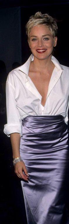 Sharon Stone in Vera Wang skirt and white shirt of then-husband, Phil Bronstein - 1998