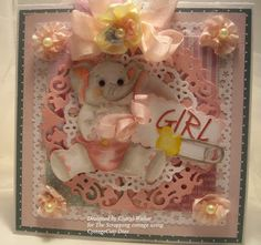 Cheryl Walker: Sweeet Designs by Cherl for CottageBLOG: Baby Girl & Video on Coloring - 8/3/12  (Cottage Cutz: Baby Elephant; Diaper Pins Mini; Baby Doily & Frame; Lace Flower Doily; Spring Blossom Alphabet, Spring Tag.)  (Elephant Copic coloring video)  (Pin#1: Baby/... Pin+: Coloring + Tutorial).  (Pin#1: Dies: Cottage Cutz. Pin+: Babies...)