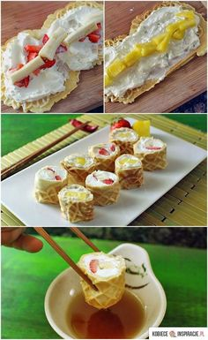 Waffle Breakfast Sushi Rolls is part of Breakfast sushi Serve up waffles shaped like sushi made with strawberries, pancakes, and cream cheese! A fun new take on breakfast food the family will love - Think Food, I Love Food, Good Food, Yummy Food, Breakfast Sushi, Breakfast Recipes, Breakfast Healthy, Health Breakfast, Healthy Brunch