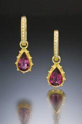 Pink Tourmaline and Diamond Hoop 18 Karat 22 Karat Gold Earrings - Commission Sold Jewelry Art, Antique Jewelry, Gold Earrings, Drop Earrings, Southwest Style, Pink Tourmaline, Farmer, Diamond, Antiques