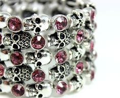 Silver Skull Bracelet Pink Zirconia Crystals Unique Jewelry Accessories for Women via ANGELS IRON. Click on the image to see more!
