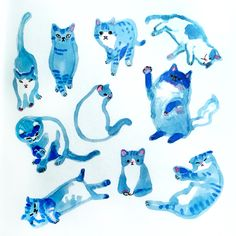Cats in blue by Marie Åhfeldt, Mås Illustra. www.masillustra.se #cat #blue #illustration #drawing #masillustra