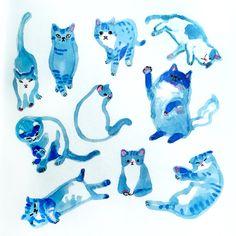 Cats in blue by Marie Åhfeldt, Mås Illustra. www.masillustra.se #cat #blue #illustration #drawing #masillustra
