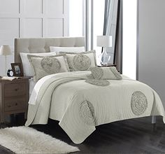 Chic Home 4 Piece Jupiter Quilted Rouched Floral Abstract Applique Quilt Set King Taupe *** Click on the image for additional details.