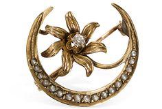 Art Nouveau 14K Gold Crescent Moon Pin on OneKingsLane.com