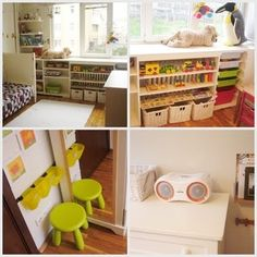Montessori-inspired room. toys are accessible so kids can get out and put back toys on their own.