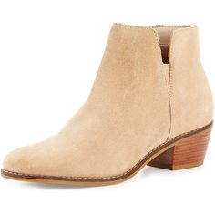 Cole Haan Abbot Grand.OS Suede Cutout Bootie ($200) ❤ liked on Polyvore featuring shoes, boots, ankle booties, cremini beige, cut out booties, bootie boots, suede bootie, cole haan booties and suede ankle boots