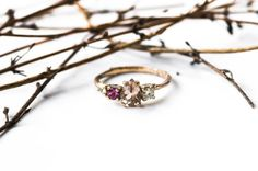 Cluster 14k gold morganite twig engagement ring cluster by Oore