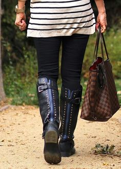 fall boots black with blue zipper! @SPARKTREND, #boots #shoes