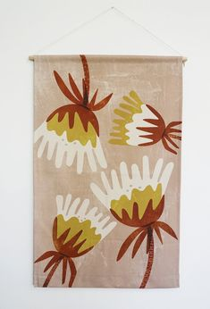 Fabric Wall Hanging - With no expensive framing required this is the ultimate in unique, hassle-free wall decor. Click the link to view the full Australian-made range. Wall Decor, Wall Art, Cotton Rope, Affordable Art, Cotton Canvas, Wall Hangings, Fabric, Prints, Blush