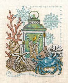 Imaginating Seaside Light - Cross Stitch Pattern. Model stitched on 14 Ct. Natural Aida with DMC floss. Stitch Count: 105x129. Designed by Diane Arthurs.