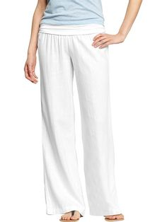Women's Linen-Blend Pull-On Pants Product Image