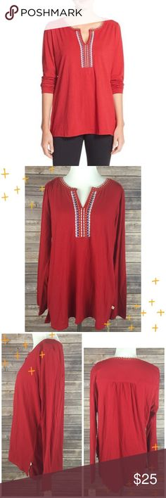 "Lucky Brand Medium Long Sleeve Pajama Shirt NWT Red jersey long sleeve pajama shirt - embroidery around neckline.  Women's Size Medium.  NWT - MSRP $40.00.  60% Cotton/40% Polyester.  Chest (armpit to armpit) 22""/Sleeve (wrist to shoulder seam) 24""/Length (back of neck to bottom hem) 27.5"" Lucky Brand Intimates & Sleepwear Pajamas"