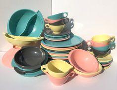 Boontonware Melmac Melamine, Boonton Belle Dish Set of 45 Pieces, Turquoise, Pink, Yellow, Grey, Gray, Pastel