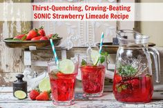 Make this amazing and easy copycat Sonic Strawberry Limeade to quench your thirst on a hot day. Strawberry Mojito, Pink Punch Recipes, Party Drinks, Summer Drinks, Copycat Recipes, Cravings, Easy, How To Make