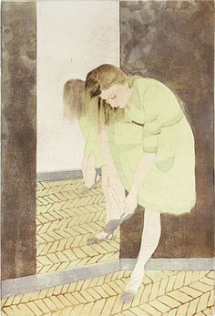 Ellen Heck. The Yellow Dress, 2009. Woodcut, drypoint and aquatint. Edition of 9. 18 x 12 inches.