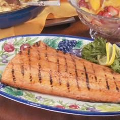 """Maple-Glazed Grilled Salmon  ~~  a Healthy, Quick & Diabetic Friendly Recipe {serve with Au Gratin Red Potatoes & Fresh Fruit Compote -- both recipes on my """"healthy recipes"""" board}"""