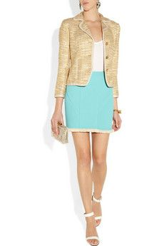 Tory Burch Lexi tweed jacket   Crafted from cream and mustard tweed, Tory Burch's 'Lexi' jacket has been interwoven with clear yarns that lend the fabric a subtle glossy sheen. Wear yours with a pastel skirt and white sandals to style a fresh new-season palette.    Shown here with: J.Crew earrings, Splendid top, Burberry bracelet, Monica Vinader rings, Maison Martin Margiela ring, 3.1 Phillip Lim skirt, Givenchy shoes, Charlotte Olympia bag.