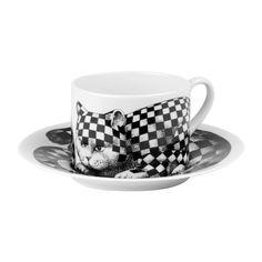 Buy Fornasetti High Fidelity Teacup & Saucer - Quadretato   Amara