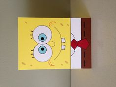 Handmade SpongeBob SquarePants card. This was pretty easy - I used 3 x circle punches for the eyes, cut some rectangles for the shirt, trousers and teeth, and hand-drew all the details. The only tricky bit was doing the tie!