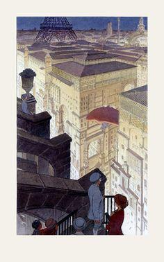 """Schuiten, François - Affiche Offset Christian Desbois - """"Paris les halles la nuit"""" (2013) - W.B."""